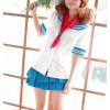 Blue Short Sleeves Lovely Girl School Uniform Cosplay Costume