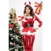 Elegant Long Sleeves Acrylic Women Christmas Suit