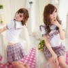 Hot Plaid Pattern Short Sleeves Bow School Girl School Uniform