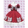 Red Puff Short Sleeves Bow Classic Lolita Dress