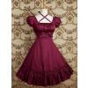Fuchsia Red Ruff Short Sleeves Ruffles Classic Bow Lolita Dress