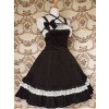 Black and White Sleeveless Lace Bow Classic Lolita Dress