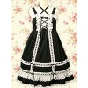 Black & White Sleeveless Bow Classic Lolita Dress