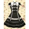 Black Puff Short Sleeves Bows Classic Lolita Dress