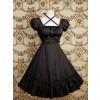 Black Puff Short Sleeves Ruffles Classic Lolita Dress