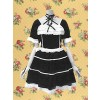 Black Short Sleeves Gothic Lace Tie Lolita Dress