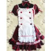 Gingham Puff Short Sleeves Lace Sweet Lolita Dress