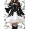 Black White Long Sleeves Classic School Lolita Dress