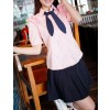 Pink Sweet Short Sleeves Girl Japanese School Uniform Cosplay Costume