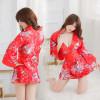 Red Elegant Floral Pattern Japanese Geisha Costume