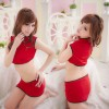 Red Modern Collar Cheongsam Costume