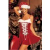 Sexy Velvet Lace-Up Front Girls Christmas Costume