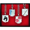 Silver Attack On Titan Necklace Set